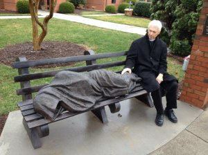 homeless statue