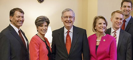two women senators with McConnell