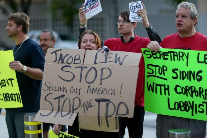 Image: Labor Activists Protests Outside Treasury Secretary's Lew Talk At Miami Dade College