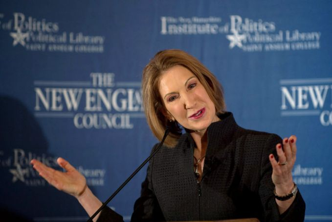 "Former Hewlett-Packard Chief Executive Fiorina speaks at the New England Council's ""Politics and Eggs"" breakfast in Bedford"