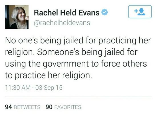 Evans tweet about Kim Davis