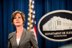 WASHINGTON, DC - JUNE 28: Deputy Attorney General Sally Q. Yates speaks during a press conference at the Department of Justice on June 28, 2016 in Washington, DC. Volkswagen has agreed to nearly $15 billion in a settlement over emissions cheating on its diesel vehicles. (Photo by Pete Marovich/Getty Images)
